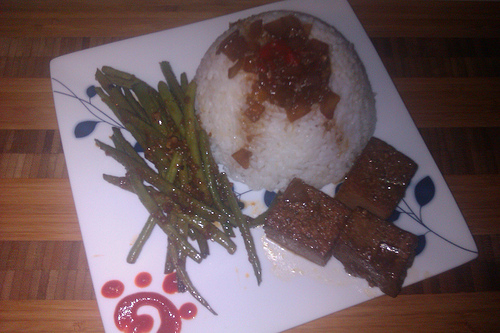 Adobo Tofu and Green Beans with Rice