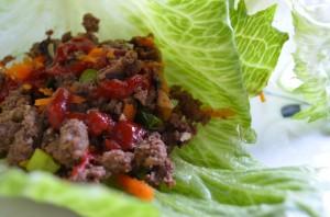 Bison Lettuce Wrap with Sriracha!