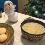 Broccoli Cheddar Soup next to Snowman and Christmas Tree