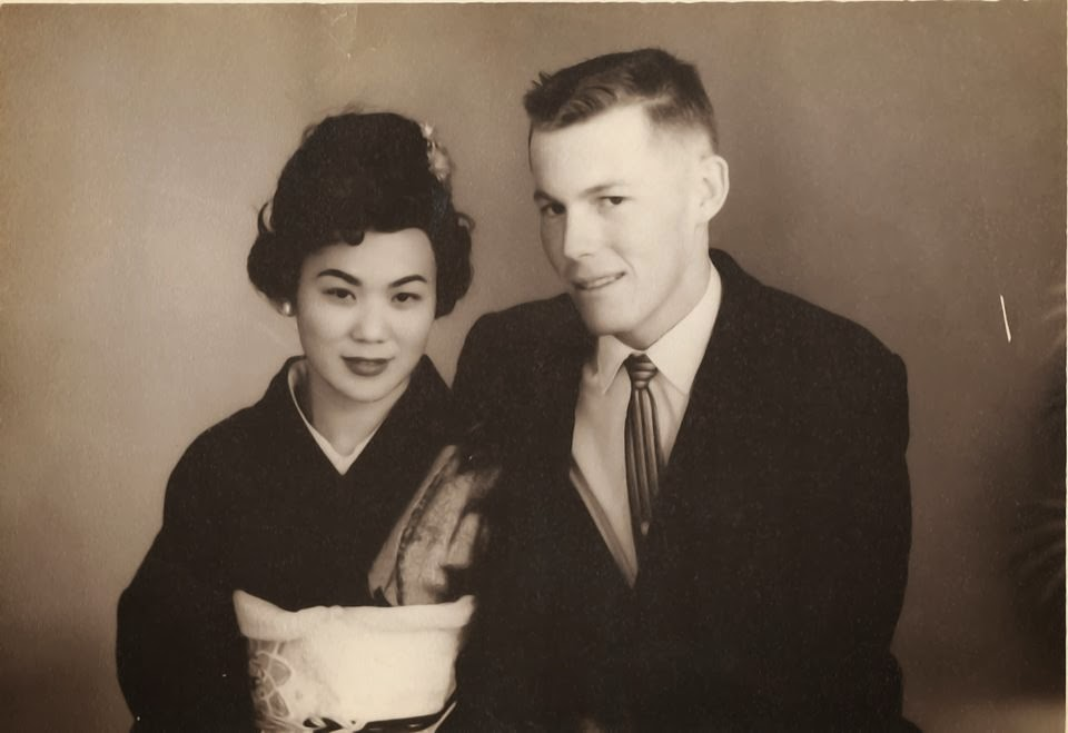 Black and White Photo of Young man and Woman in Kimono