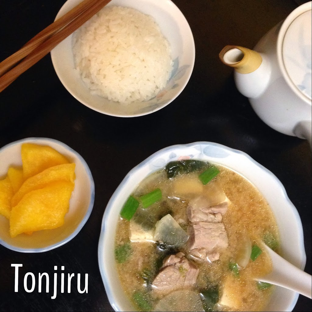 Tonjiru Pork and Vegetable Miso Soup, with Rice and Ginger