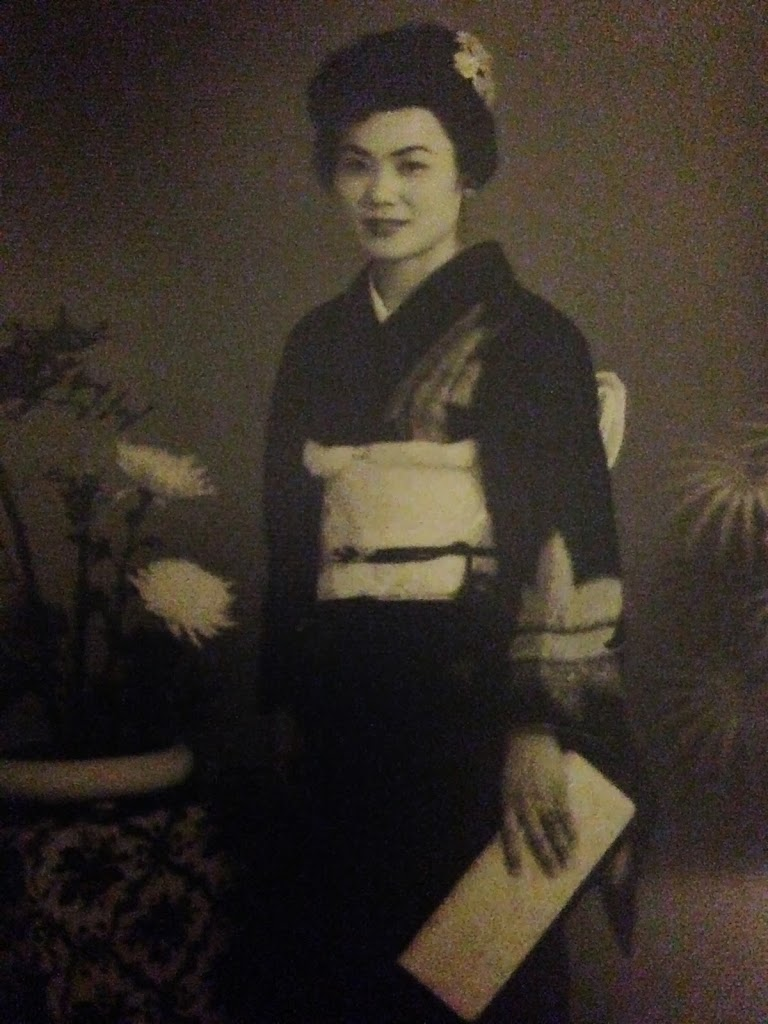Black and White Photo of Woman in Kimono