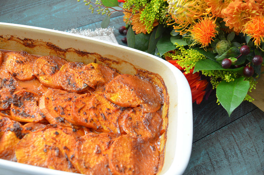 Spicy Scalloped Yams! Perfect for those who don't like the sweet ones served on Thanksgiving!