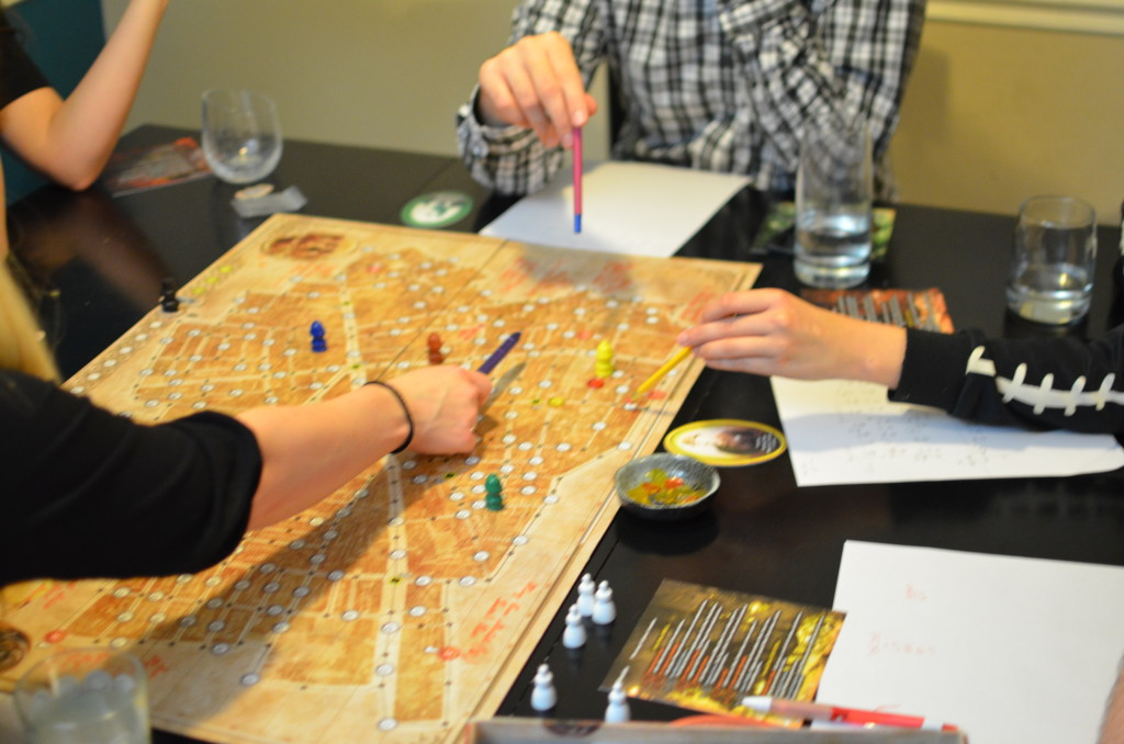 Whitechapel board game in progress