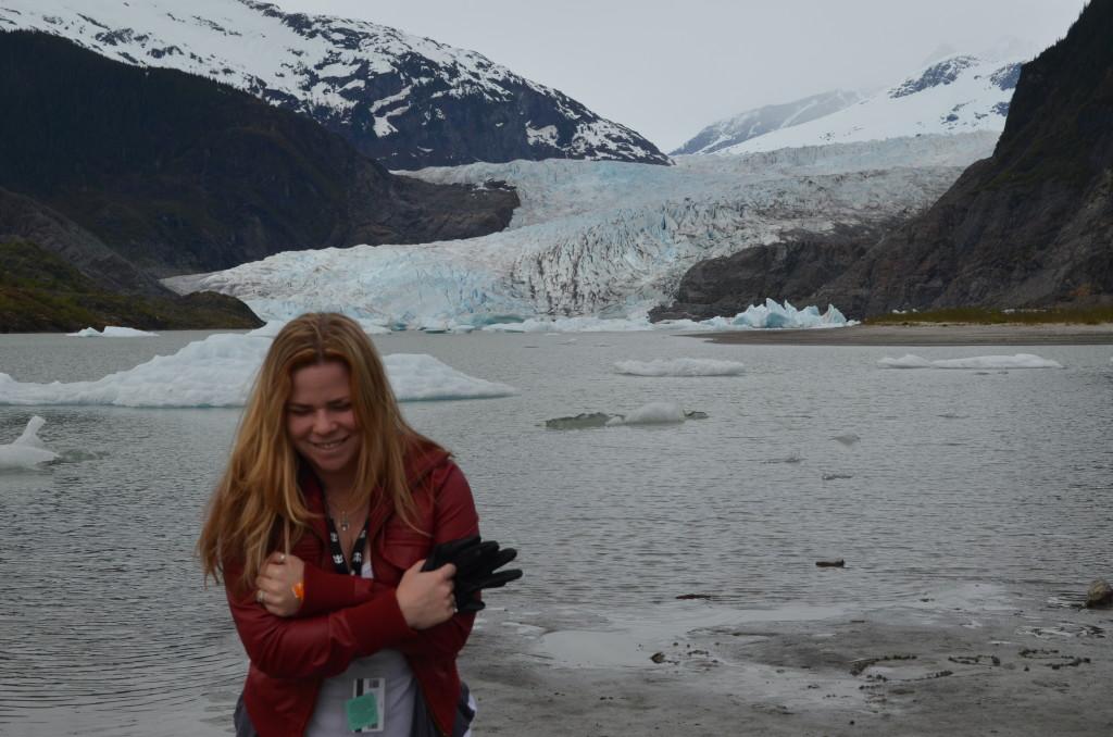 Carolann Lucian in front of an Alaskan glacier