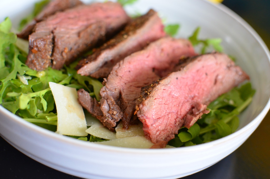 Porcini Mushroom Flank Steak with Arugula