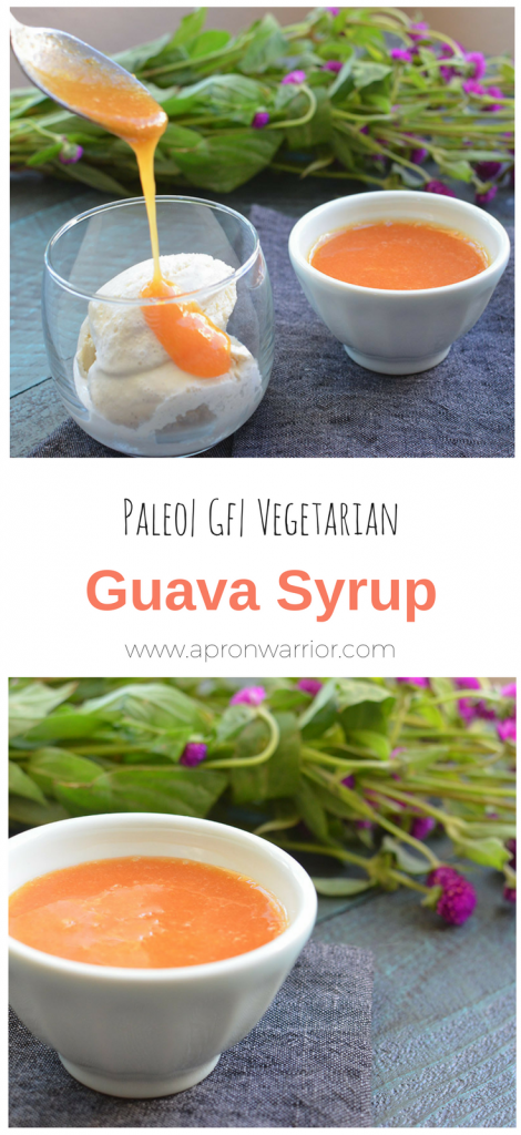Guava Syrup - A processed sugar free syrup made with fresh guava! Delicious on desserts or in drinks!