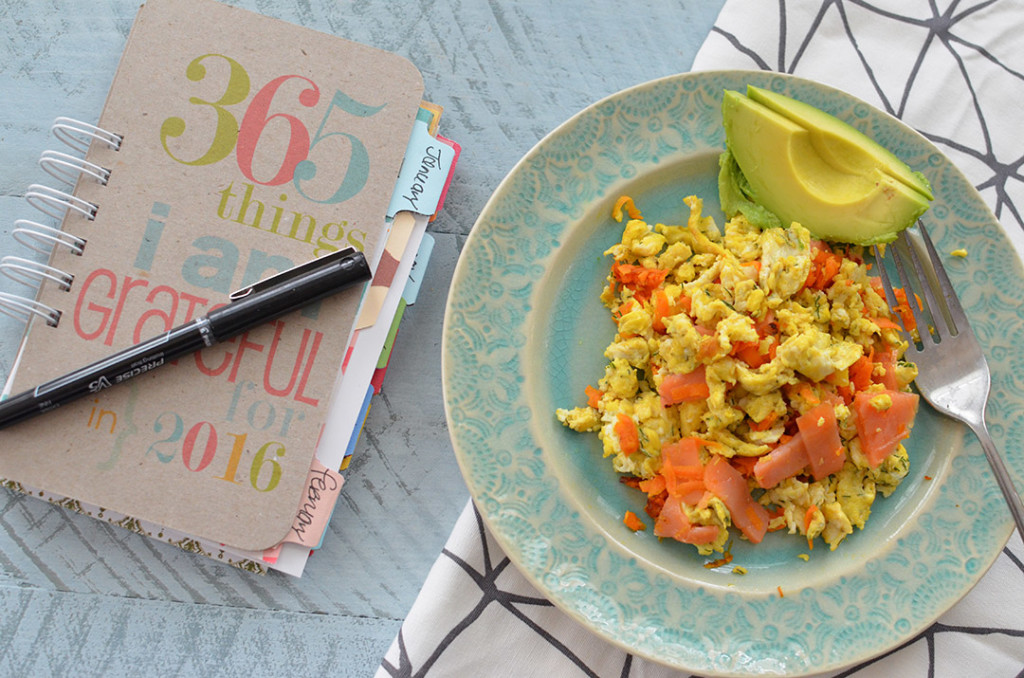 100 Days of Cookbooks: Smoked Salmond Sweet Potato Scramble