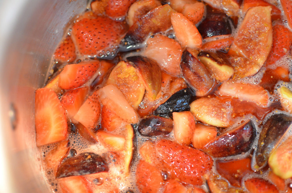 Boiling Figs and Strawberries For Jam