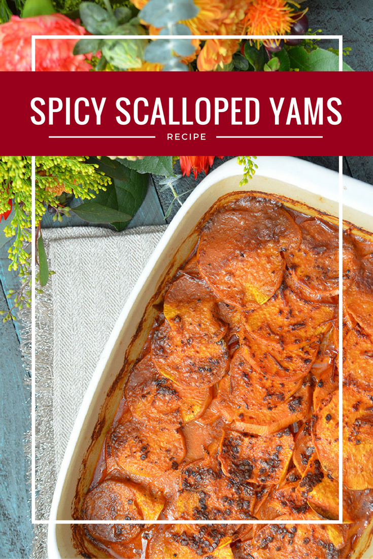 Spicy Scalloped Yams! A perfect alternative for those who aren't a fan of candied yams at Thanksgiving!
