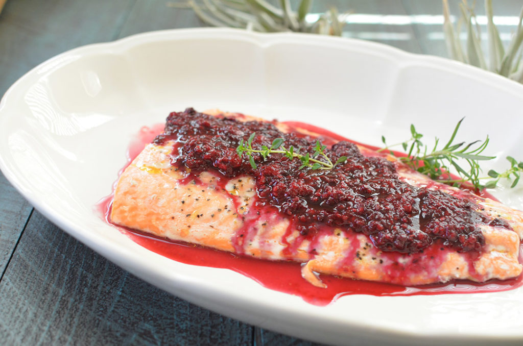 A beautiful dish that only takes 20 minutes to make and only 4 ingredients! Blackberry Thyme Salmon.