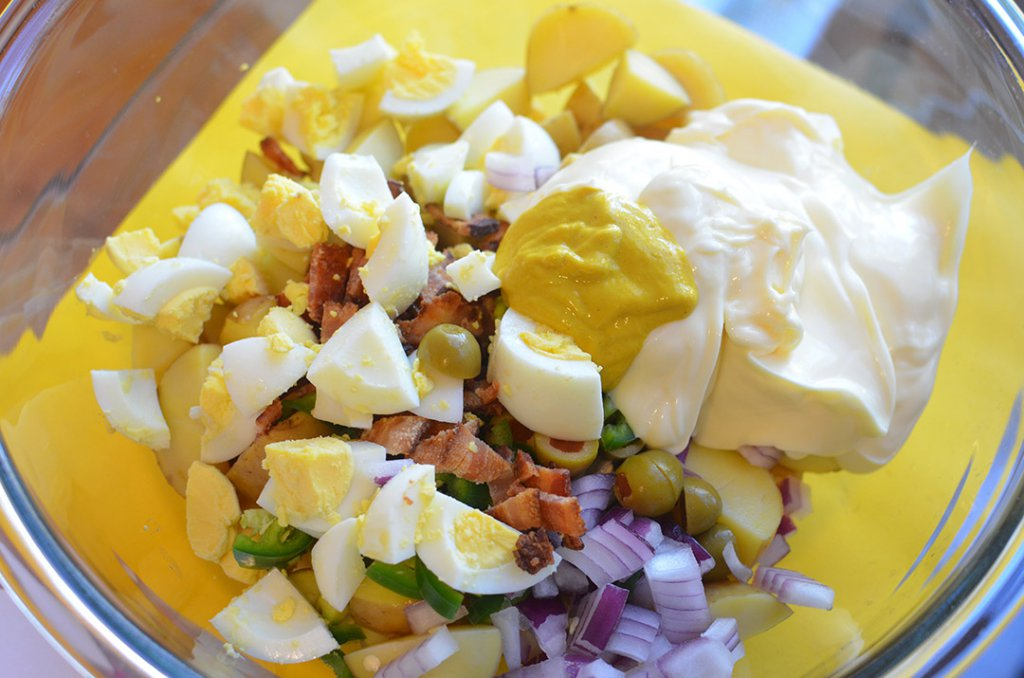 Texas Style Potato Salad- #FoodBloggers4TX mixings