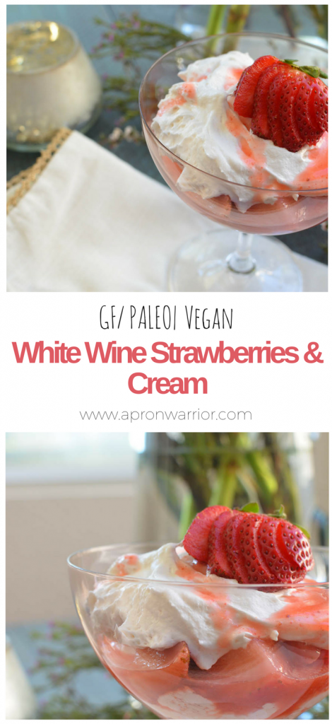White Wine Strawberries and Cream is a gorgeous dessert that is perfect for a fancy dinner party or a relaxed night at home