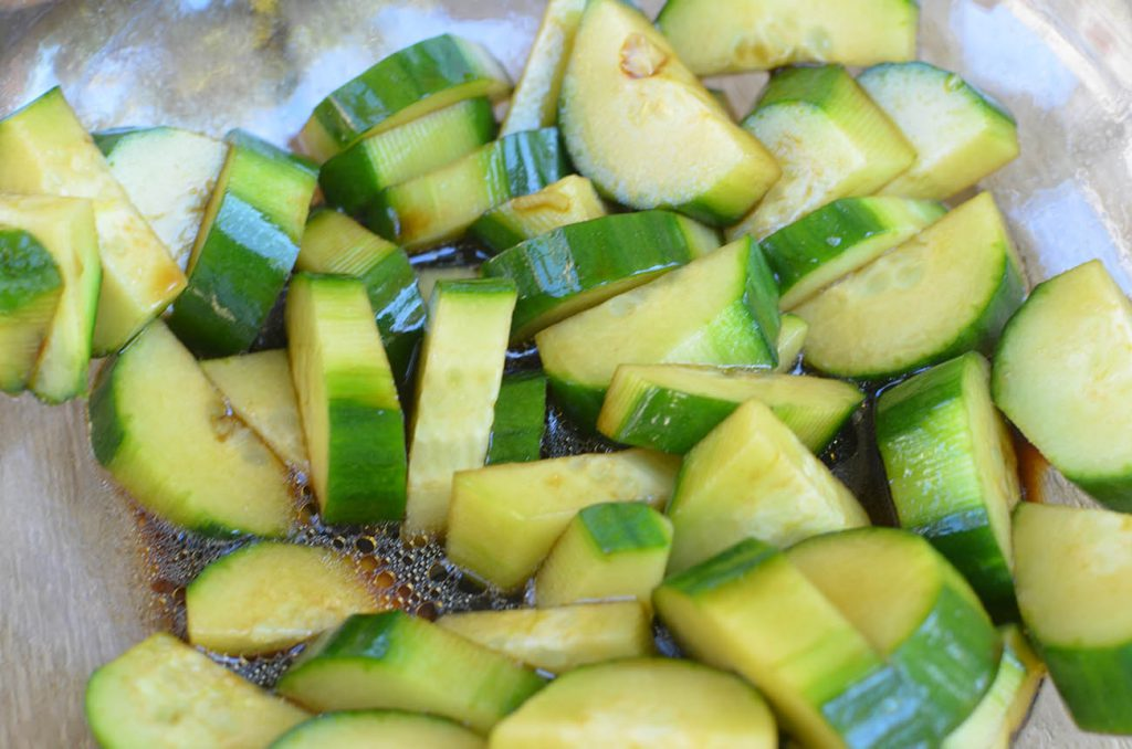 Crisp cucumbers with an asian flair all in one delicious salad