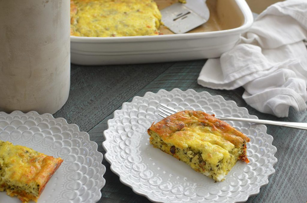 Delicious Pesto frittata that is quick to make and a crowd pleaser!
