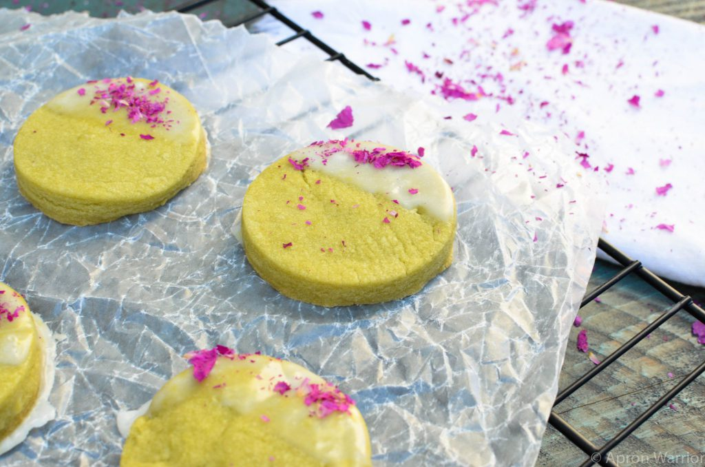 Vegan Matcha Rose Cookies